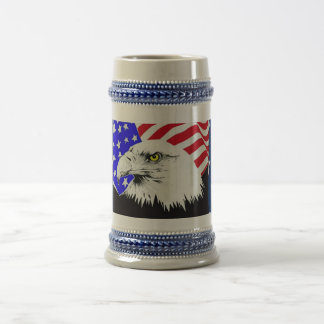 Bald Eagle and American Flag 18 Oz Beer Stein