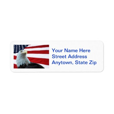 USA Themed Bald Eagle And American Flag Address Labels