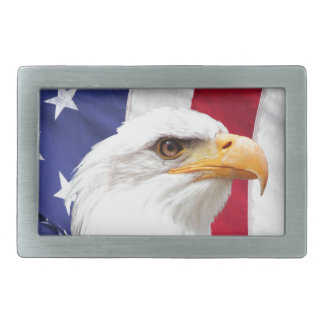 Bald Eagle and American Flag Rectangular Belt Buckles