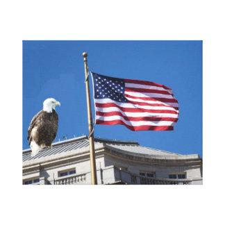 Bald Eagle And American Flag Canvas Print