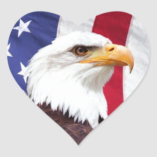 Bald Eagle and American Flag Heart Sticker