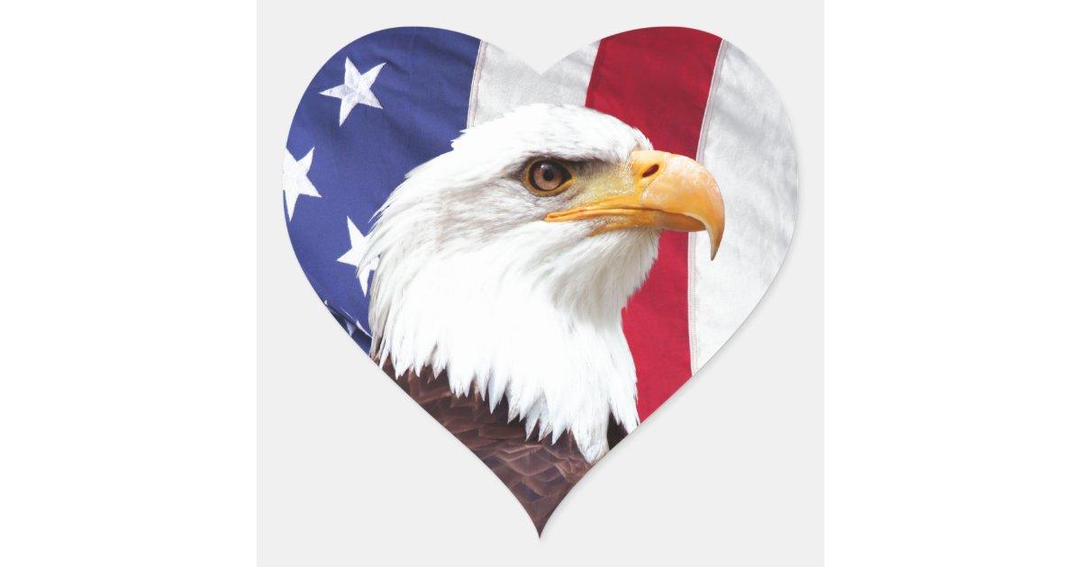 Bald Eagle and American Flag Heart Sticker | Zazzle