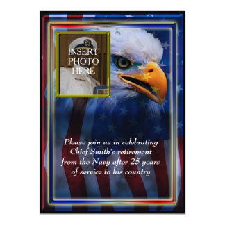 Bald Eagle and American Flag Military Retirement 5x7 Paper Invitation Card