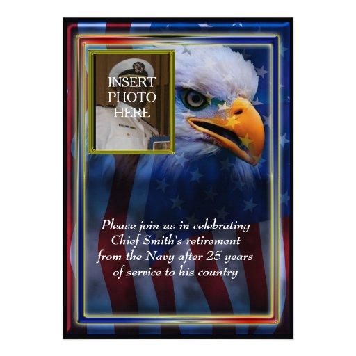 Bald Eagle and American Flag Military Retirement Custom Invitation