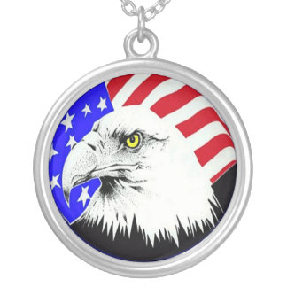 Bald Eagle and American Flag Necklace