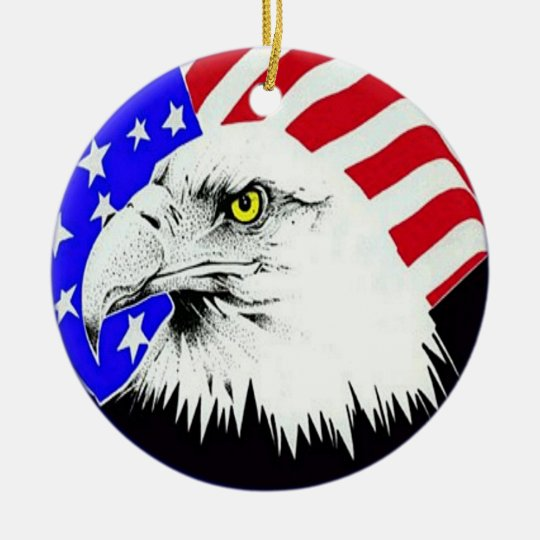 Bald Eagle and American Flag Ornament