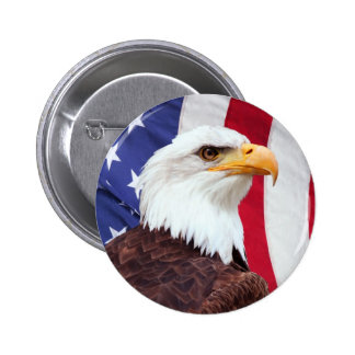 Bald Eagle and American Flag Pinback Button