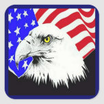 Bald Eagle and American Flag Sticker