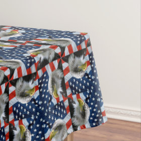 Bald Eagle and American Flag Tablecloth