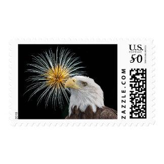 Bald Eagle and Fireworks Postage