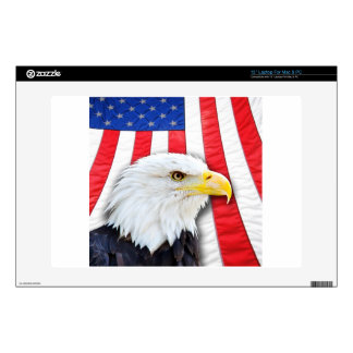 """Bald Eagle and Flag 13"""" Laptop Decal"""