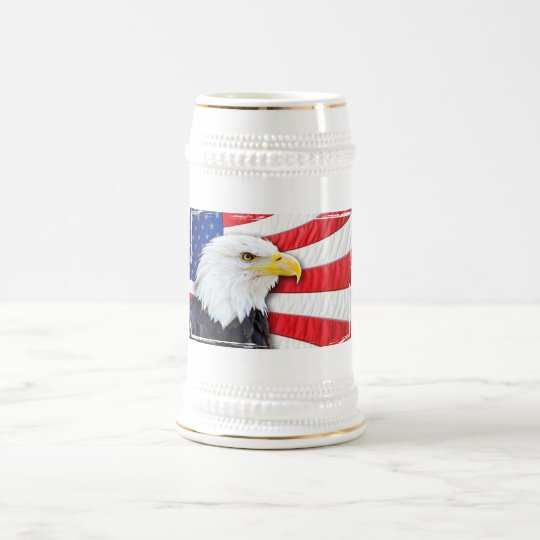 Bald Eagle and Flag Beer Stein