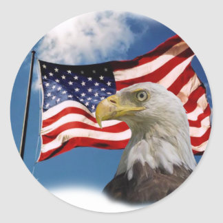 bald eagle and flag classic round sticker