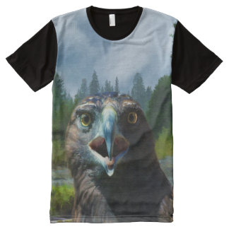 Bald Eagle and Misty Alaskan River ATTITUDE All-Over Print Shirt