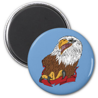 Bald Eagle and Ribbon 2 Inch Round Magnet