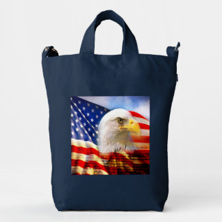 Bald Eagle and The American Flag BAGGU Duck Bag