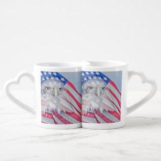 Bald Eagle and the American Flag Couples Coffee Mug