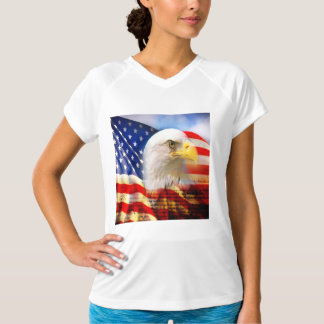 Bald Eagle and The American Flag Dry V-Neck Shirt