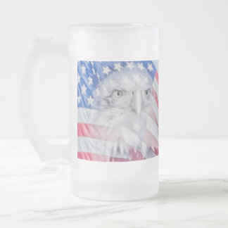 Bald Eagle and the American Flag Frosted Glass Beer Mug