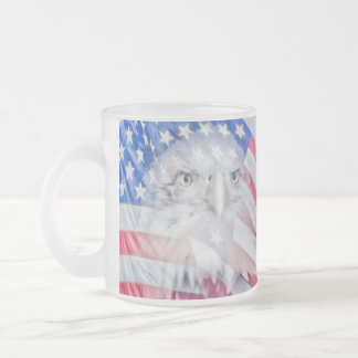 Bald Eagle and the American Flag Frosted Glass Coffee Mug