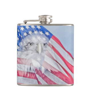 Bald Eagle and the American Flag Hip Flask