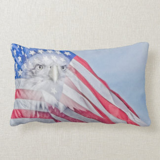 Bald Eagle and the American Flag Lumbar Pillow