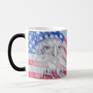 Bald Eagle and the American Flag Magic Mug