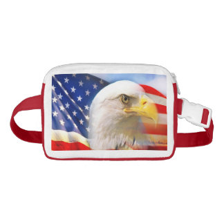 Bald Eagle and The American Flag Nylon Fanny Pack