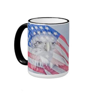 Bald Eagle and the American Flag Ringer Mug