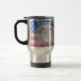 Bald Eagle and the American Flag Travel Mug