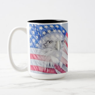Bald Eagle and the American Flag Two-Tone Coffee Mug