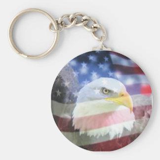 bald eagle and U.S.A. flag Basic Round Button Keychain