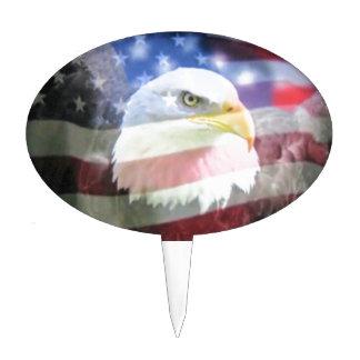 bald eagle and U.S.A. flag Cake Topper