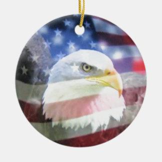 bald eagle and U.S.A. flag Ceramic Ornament