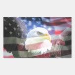 bald eagle and U.S.A. flag Rectangle Stickers