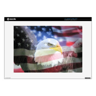bald eagle and U.S.A. flag Skin For Laptop