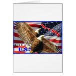 Bald Eagle and US Flag Card