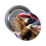 Bald Eagle and US Flag Pinback Button