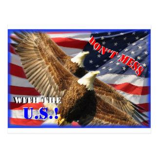 Bald Eagle and US Flag Postcard