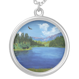 Bald Eagle at Hume Lake Round Pendant Necklace