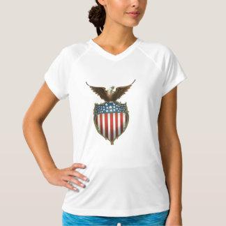 Bald eagle atop of stars & stripes shield, shirt