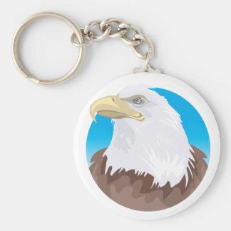 Bald Eagle Badge Basic Round Button Keychain