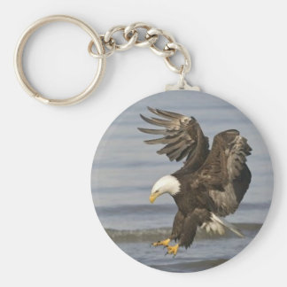 bald eagle basic round button keychain