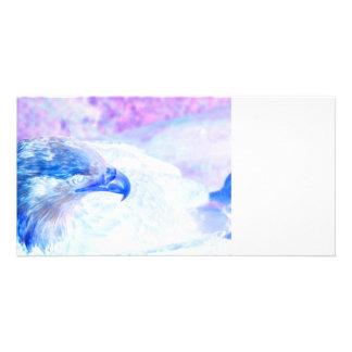 bald eagle blue purple facing right photo card