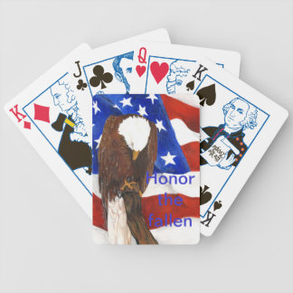 Bald eagle bowing his head with American flag Bicycle Playing Cards