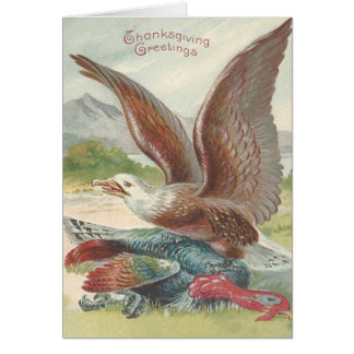 Bald Eagle Catching Thanksgiving Turkey Card
