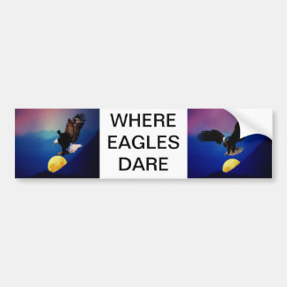 Bald eagle chases the full moon bumper sticker