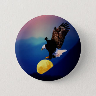 Bald eagle chases the full moon button