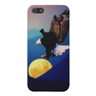 Bald eagle chases the full moon case for iPhone SE/5/5s