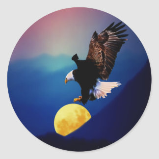 Bald eagle chases the full moon classic round sticker